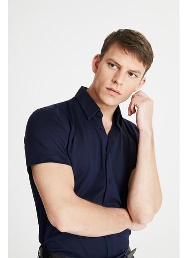 Damat Slim Fit Örme Gömlek Lacivert